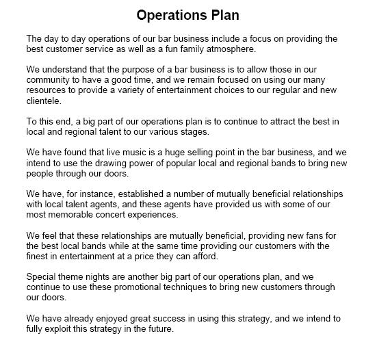 operation for business plan