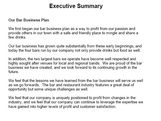 writing good executive summary business plan